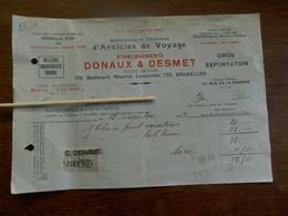 Oude Fakt.   établissements  DONAUX & DESMET 1923 Met Zegel - Transports