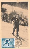D35484 CARTE MAXIMUM CARD 1956 SAN MARINO - OLYMPICS CROSS COUNTRY SKIING CP ORIGINAL - Skiing