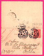 Carte Lettre 10 C Semeuse - Entier Postal - Obl. PARIS 26 R. De Dunkerque Vs ANTIBES - Pour Mme De MAUPASSANT - 1916 - Entiers Postaux