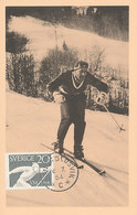 D35485 CARTE MAXIMUM CARD 1954 SWEDEN - WORLD CHAMPIONSHIP CROSS COUNTRY SKIING CP ORIGINAL - Skiing