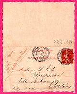Carte Lettre 10 C Semeuse - Entier Postal - Obl. PEYMEINADE ( 06 ) Vs ANTIBES ( 06 ) - Pour Mme De MAUPASSANT - 1909 - Biglietto Postale