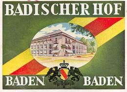 """D8687 """"BADISCHER HOF - BADEN BADEN - GERMANIA"""" ETICHETTA ORIGINALE - Hotel Labels"""