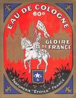 """D8688 """"EAU DE COLOGNE 60° - GLOIRE DE FRANCE - PARFUMERIE ETOILE - FRANCE"""" ETICHETTA ORIGINALE - Etiquettes"""