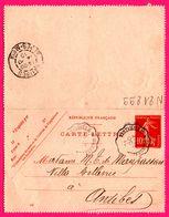 Carte Lettre 10 C Semeuse - Entier Postal - Convoyeur VINTIMILLE à MARSEILLE Vs ANTIBES - Pour Mme De MAUPASSANT - 1910 - Entiers Postaux