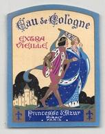 """D8689 """"EAU DE COLOGNE - EXTRA VIEILLE - PRINCESSES D'AZUR - MIRALY PARIS"""" ETICHETTA ORIGINALE - Etiquettes"""