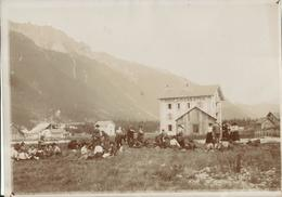 Chamonix Pièce Unique D'une Carte Photo De L'hôtel Du Chemin De Fer De Chamonix Prise En 1905 Animée Papier Courbé18x13 - Chamonix-Mont-Blanc