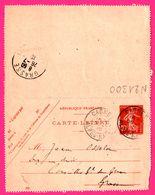 Carte Lettre 10 C Semeuse - Entier Postal - Oblit. CAGNES Vs GRASSE - Pour JEAN OSSOLA - 1910 - Entiers Postaux