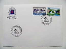 Cover From Iceland 1983  Reykjavik Mountains Waterfall Fdc - 1944-... Repubblica