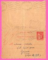 Carte Lettre 50 C Type Paix - Entier Postal - Oblit. Linéaire PARIS Rue Clerc Vs GRASSE ( 06 ) - Pour Mme OSSOLA - 1936 - Biglietto Postale