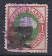 HELIGOLAND 1875: Timbre 1pf. Carmin Et Vert  (Y&T 10),  Oblitéré Forte Cote - Autres - Europe