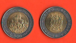 San Marino 500 Lire 1988 Seconda Torre Bimetallic Bimetallici - San Marino