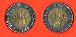 San Marino 500 Lire 1991 Terra Ospitale Bimetallic Bimetallici - San Marino