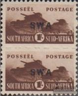 Namibia - Südwestafrika 245II Senkrechtes Paar Kleiner Aufdruck Postfrisch 1942 Rüstungsbilder - Südwestafrika (1923-1990)