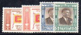 T429 - CEYLON SRI LANKA 1949 , Yvert N. 273/276  ***  MNH - Sri Lanka (Ceylon) (1948-...)