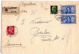 ITALIA  Storia Postale  Regno    Busta   Affr. Coppia Di Dante Lire 1,25 + 25 +75   Da Taormina 20 - 3 - 32 - Non Classificati