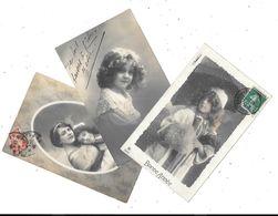 10941- Lot De 3 CPA Enfants : Portraits Petites Filles, - Portraits