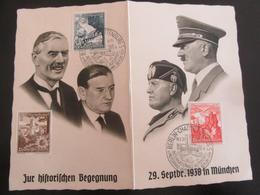 Postkarte Klappkarte Hitler Und Mussolini, Daladier Und Chamberlain - München 1938 - Weltkrieg 1939-45