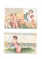 10942- Lot De 2 CPA Enfants :  Baigneuses - Femmes