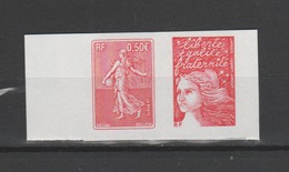 FRANCE / 2003 / Y&T N° 3619 ** (en Fait, P3619 **) Ou AA P43 ** : Paire TVP LP Luquet/Semeuse De Roty X 1 (bord Carnet) - Adhesive Stamps