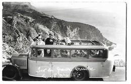 A2 06 NICE Carte Photo Autobus Sur La Corniche 1934 - Transport (road) - Car, Bus, Tramway