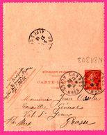 Carte Lettre 10 C Semeuse - Entier Postal - Oblit. CANNES Vs GRASSE ( 06 ) - Pour Mr OSSOLA - 1913 - Entiers Postaux