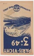 Tract Train Automotrice Bugatti - Paris Vichy Clermont Ferrand 1935 Publicité Horaire PLM Dessin - Chemin De Fer