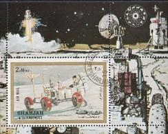 Sharjah 1972 Bf. 111A Apollo 17  Moon Buggy Astronauts Perf. CTO - FDC & Commemorrativi