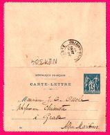 Carte Lettre Type Sage 15 C Bleu - Entier Postal - Oblit. GRASSE ( 06 ) - Pour Mr OSSOLA - 1901 - Biglietto Postale
