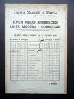 Servizio Pubblico Automobilistico Modena Correggio Orari Marinelli Ghiretti 1919 - Vecchi Documenti