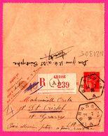 Carte Lettre Type Paix Laurens 50 C - Entier Postal - Oblit. Octogonale GRASSE Recommandé A - Pour OSSOLA - 1936 - Entiers Postaux