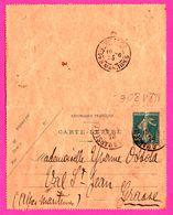 Carte Lettre Semeuse 25 C - Entier Postal - Oblit. MARSEILLE ( 13 ) Vs GRASSE ( 06 ) - Pour Mlle Yvonne OSSOLA - 1923 - Entiers Postaux