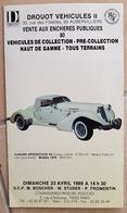 CATALOGUE DE VENTE Aux ENCHERES: 80 Vehicules De Collection, Pre Collection HAUT DE GAMME- Tous Terrains - Voitures