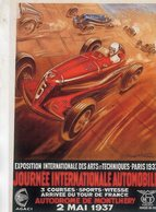 Journée Internationale Automobile - Autodrome De Montlhéry 1937  -  (Artwork Geo Ham)   -  Publicité  -  CPR - Grand Prix / F1
