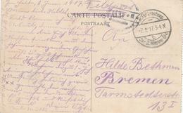 465/27 -- Carte-Vue De MIDDELKERKE Cachet Feldpostexp. Des 2 MARINE-DIV B 1917 Vers BREMEN Allemagne - WW I