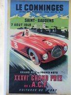 Grand Prix De France Moto & Grand Prix De L'ACF à Le Comminges (Saint-Gaudens) 1949   -  Publicité  -  CPR - Grand Prix / F1