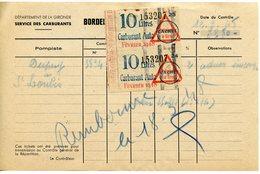 RATIONNEMENT BORDEREAU DE FAUX TICKETS DE CARBURANT AUTO GIRONDE SAINT-LOUBèS 1948 - Documents Historiques