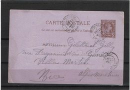 CTN54A- MONACO CHARLES III CP 10c POUR NICE 22/3/1888 DEFAUTS - Postal Stationery