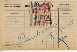 RATIONNEMENT BORDEREAU DE FAUX TICKETS DE CARBURANT AUTO GIRONDE LEOGNAN 1948 - Historical Documents
