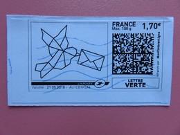 Montimbrenligne - Oiseau à Colorier - Lettre Verte Max 100 G - 1,70 € - Sur Fragment - France