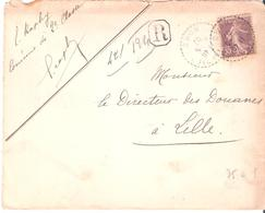 Yvert N°136 ( 35c.semeuse Maigre) Seul Sur Lettre Recommandée - Postmark Collection (Covers)