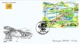 Albania Stamps 2018. CEPT Europa/Europe: Bridges. FDC Block. MNH - Albania