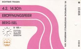Ticket To Opening Ceremony In Berg Isel Austria  1976 Innsbruck Olympic Games (DD4-53) - Winter 1976: Innsbruck
