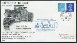 1972 GB Britannia Bridge, Bangor - Crewe TPO Railway Cover. Train Robert Stephenson - 1952-.... (Elizabeth II)