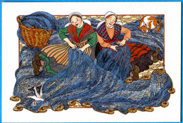 CPM Anne Odile HUET HUMEAU 355 Bavardage Et Ravaudage ( Femme - Pêche ) - Illustrateurs & Photographes