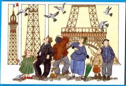 CPM Anne Odile HUET HUMEAU 367 Tour Eiffel ( Couples Enfants ) - Illustrateurs & Photographes