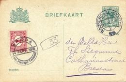 Entier Postal Roosendaal 1918 Rosendael Nederland Pays Bas Breda - Postal Stationery