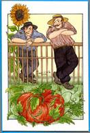 CPM Anne Odile HUET HUMEAU 361 Contemplation Horticole ( Hommes Avec Pipe - Citrouille ) - Illustrateurs & Photographes