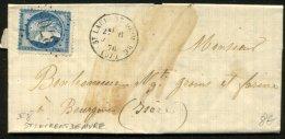 ISERE: Pli Avec 25c Ceres Dentelé Oblt Losange GC 3705+ Cà Date Type 16 De St LAURENT DE MURE (37)  P BOURGOIN - 1849-1876: Période Classique