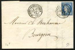 ISERE: Pli Avec 25c Ceres Dentelé Oblt CàDate T17 LE PONT DE BEAUVOISIN  (37) > BOURGOIN - 1849-1876: Période Classique