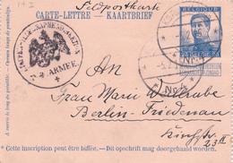 480/27 -- Carte-Lettre Pellens De GENT - Annulation Allemande Feldpost No 4 + Direction Des Télégraphes 1915 Vers BERLIN - WW I